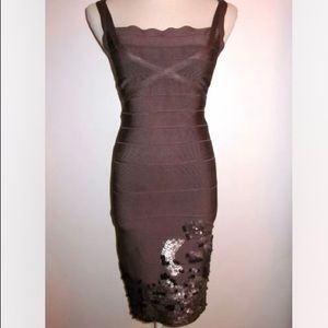 HERVE LEGER Taupe Bandage Dress w/Leather Sequins